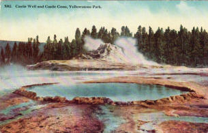 Castle Well and Castle Geyser postcard
