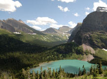 View across Grinnell Lake to Piegan Pass